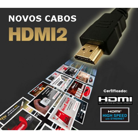 HDMI2-30 - Cabo High Speed HDMI 2.0 macho / macho 4K com Ethernet - 3.0m